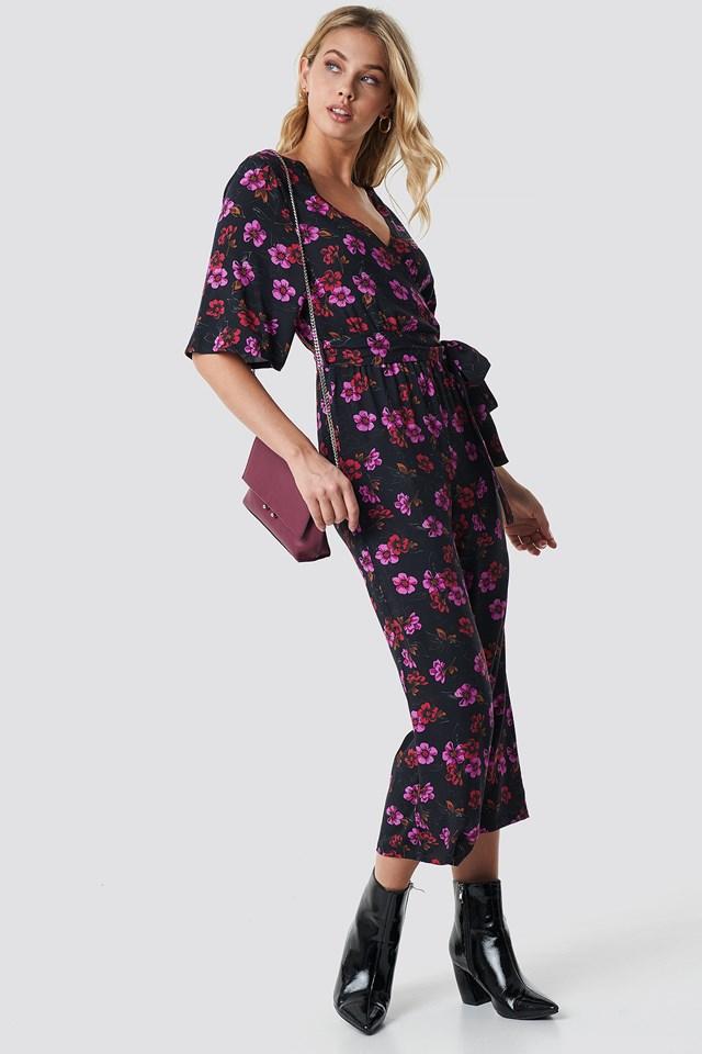 Flower Print Wrap Jumpsuit NA-KD.COM