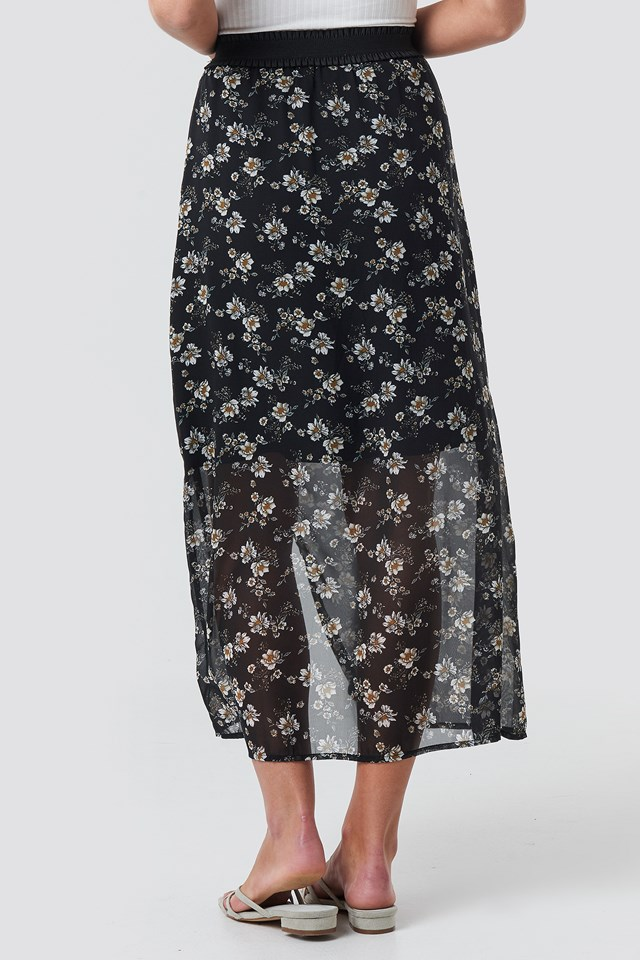 Flower Printed Midi Skirt Flower Print