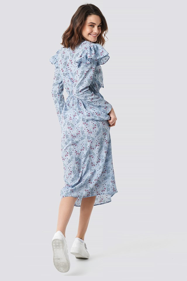 Flower Printed Ruffle Detail Dress Blue Print