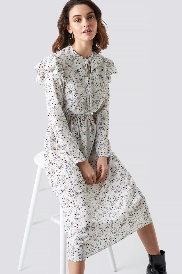 Flower Printed Ruffle Detail Dress White Print
