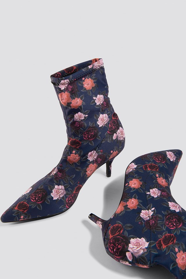 Flower Printed Sock Boots Dark Rose