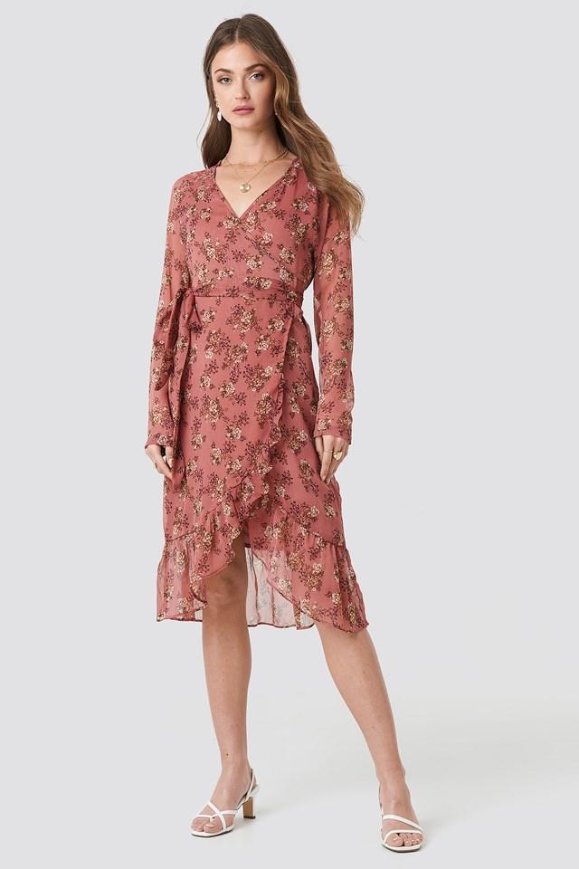 Flower Printed Wrap Dress Dusty Dark Pink
