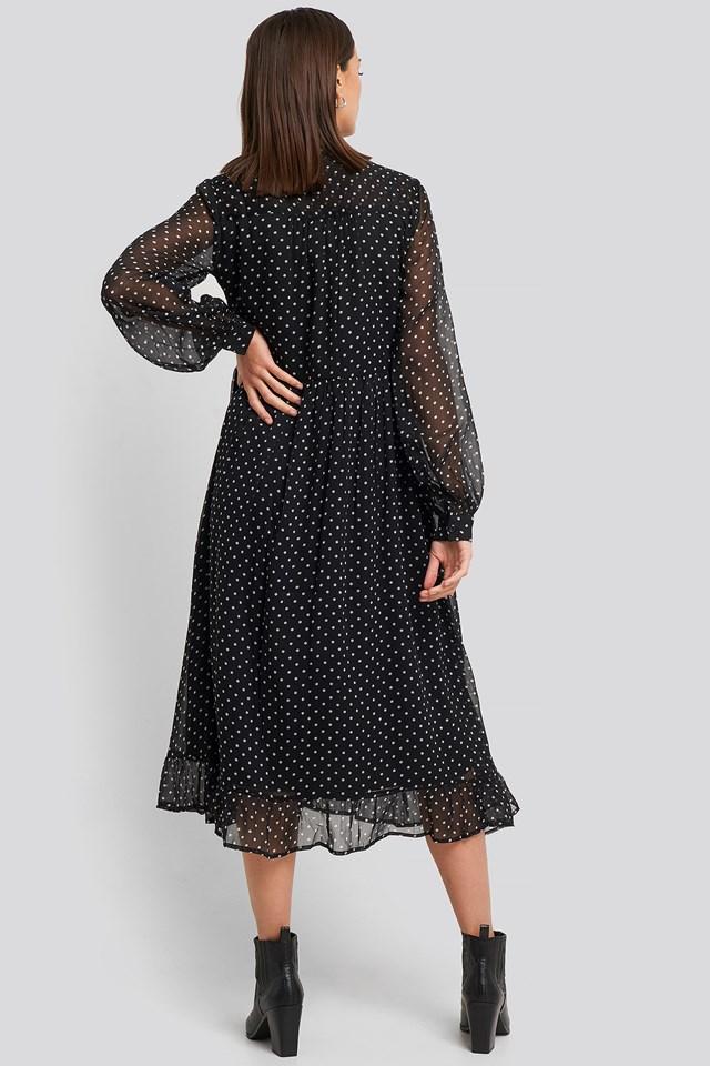 Flowy Midi Flounce Dress Black/White Spots