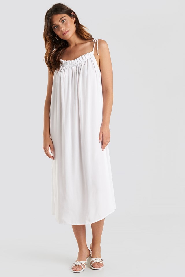 Flowing Straight Neck Midi Dress White