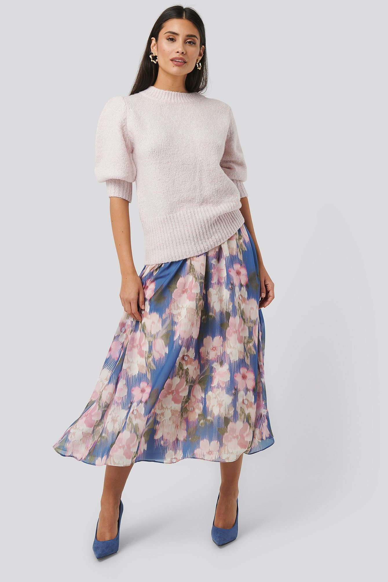 Blue Flower Flowy Chiffon Skirt