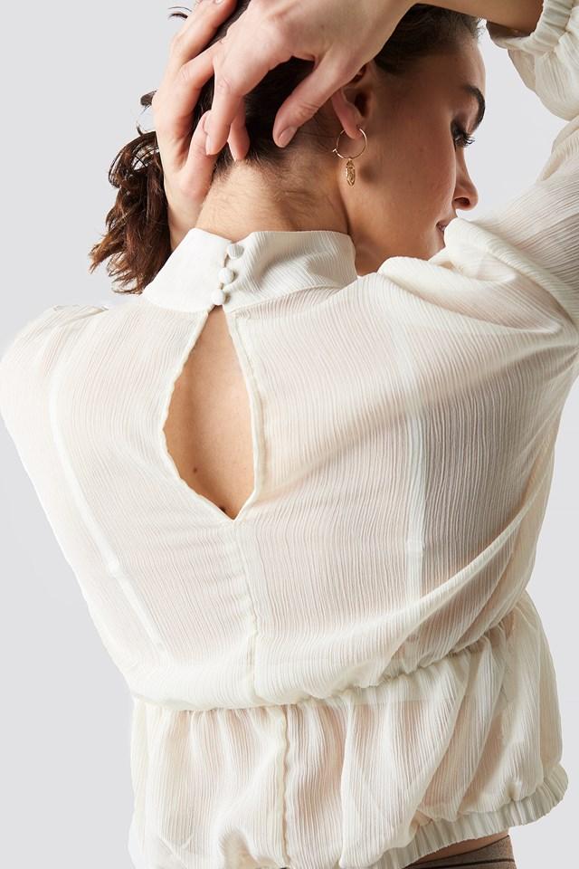 Flowy Cropped LS Chiffon Blouse Off White