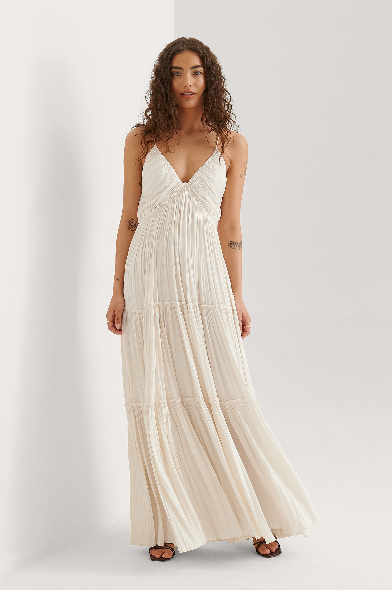 Cream Flowy Maxi Dress