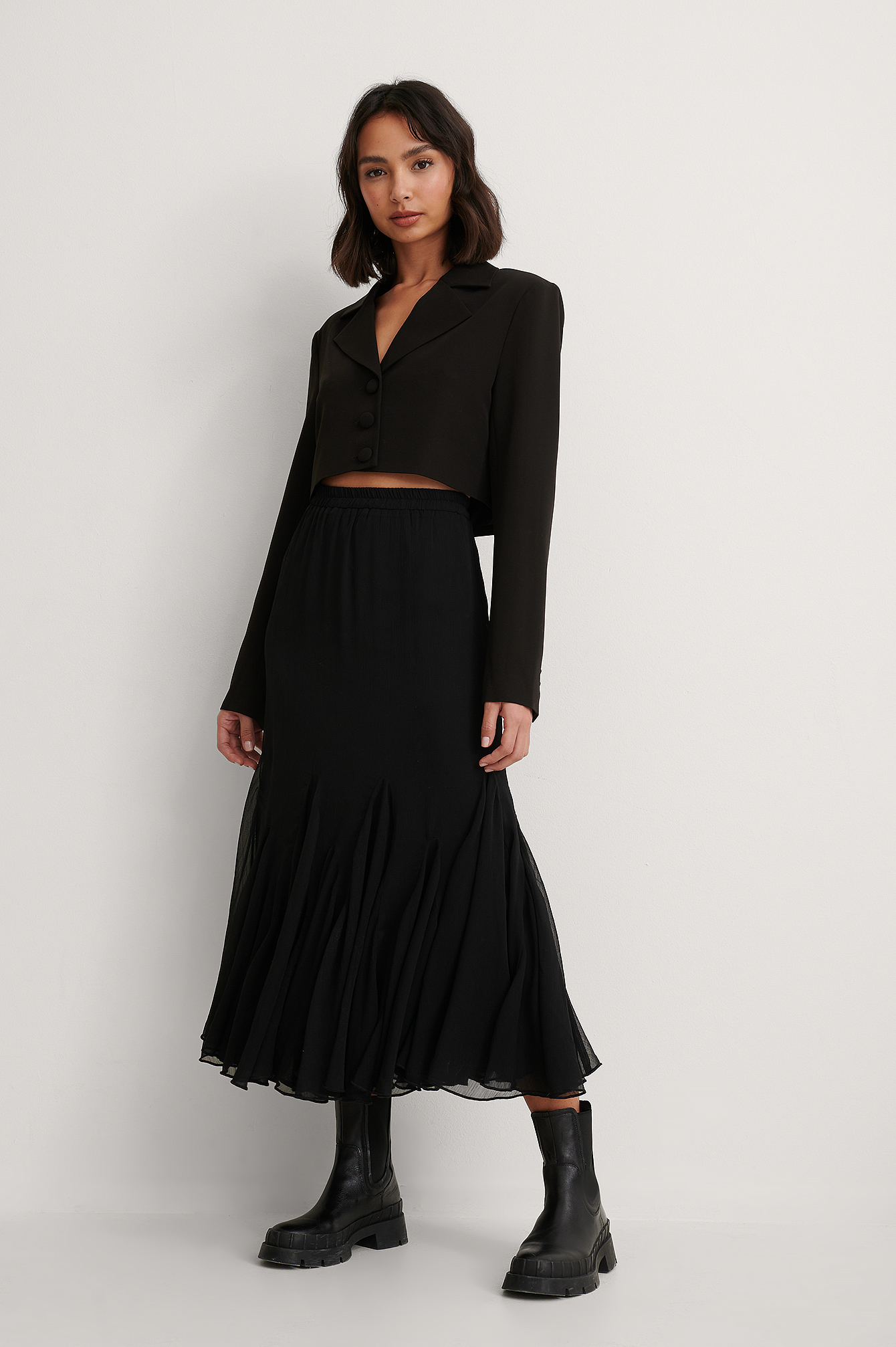 Black Flowy Midi Skirt