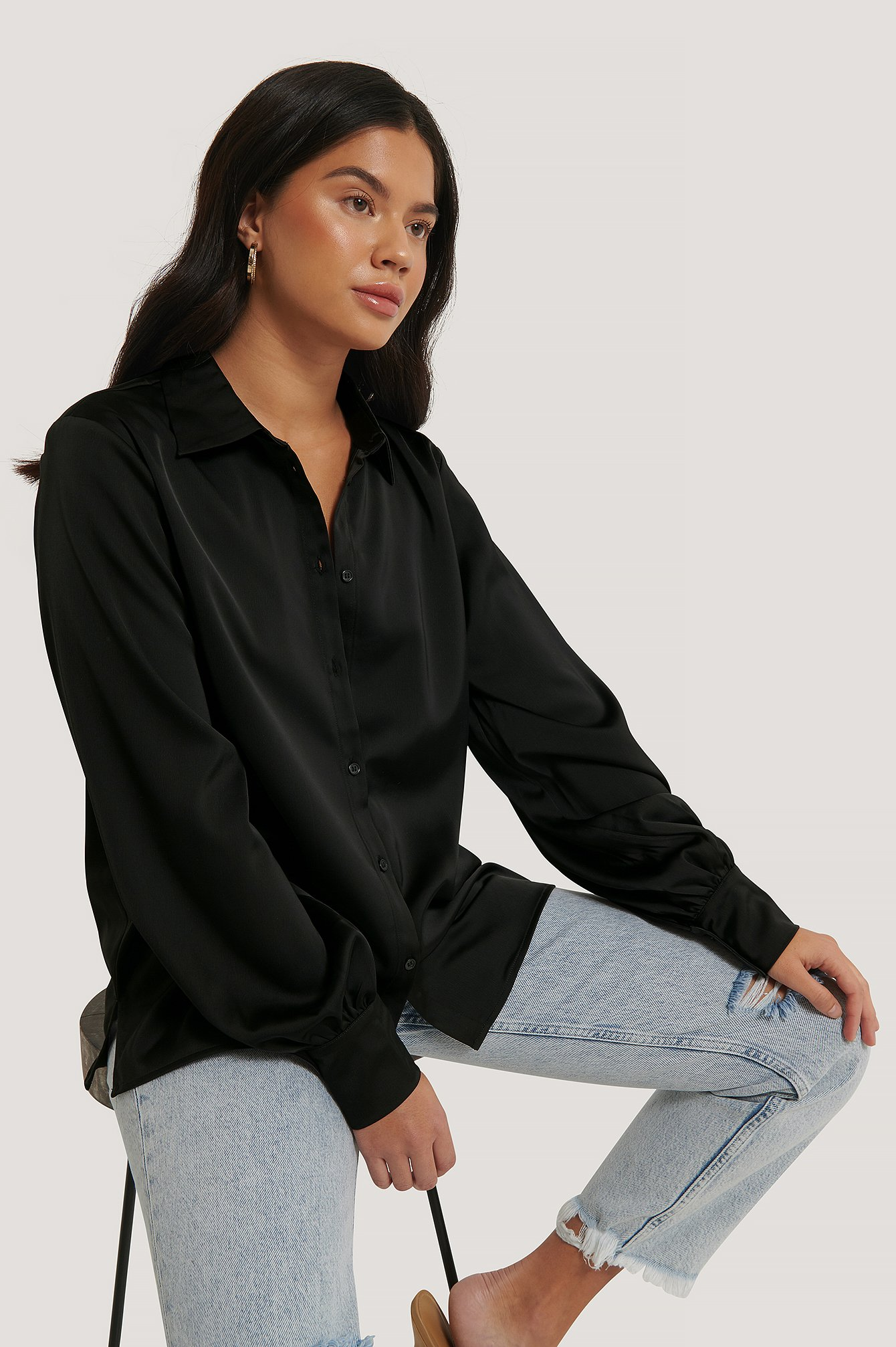 Oversized Skjorte Med Ballongermer Black | na