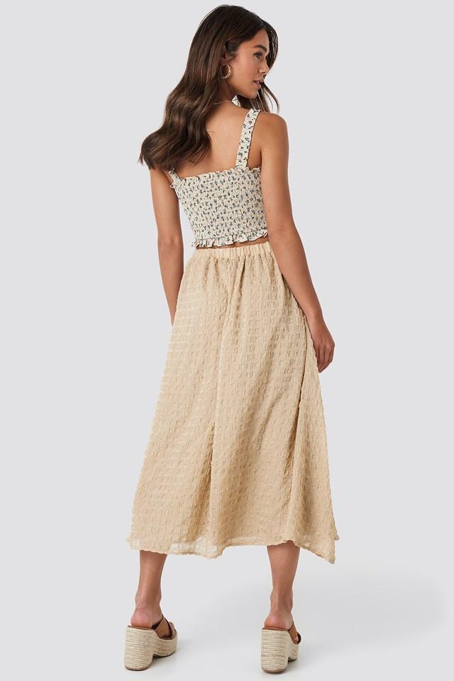 Flowy Structured Skirt Beige