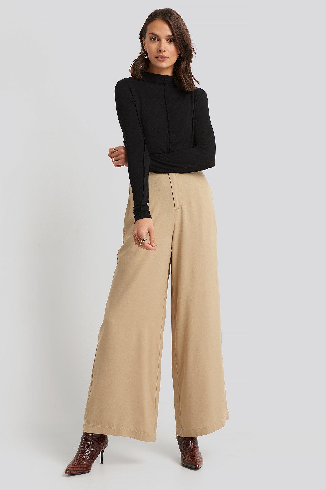 na-kd -  Flowy Wide Leg Pants - Beige