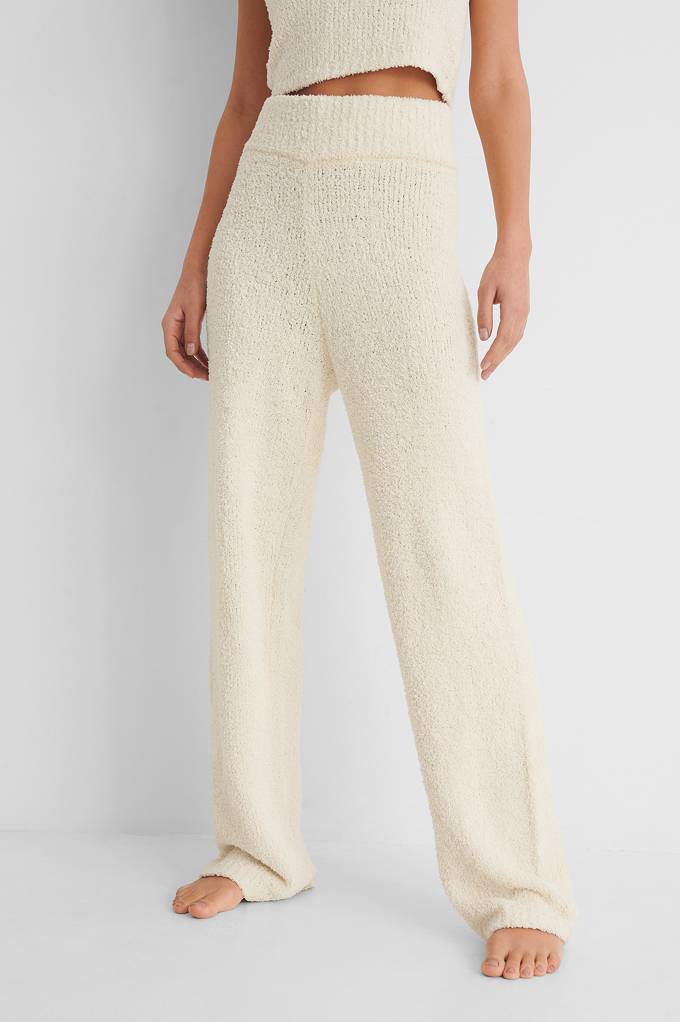 Cream Fluffy Knitted Trousers