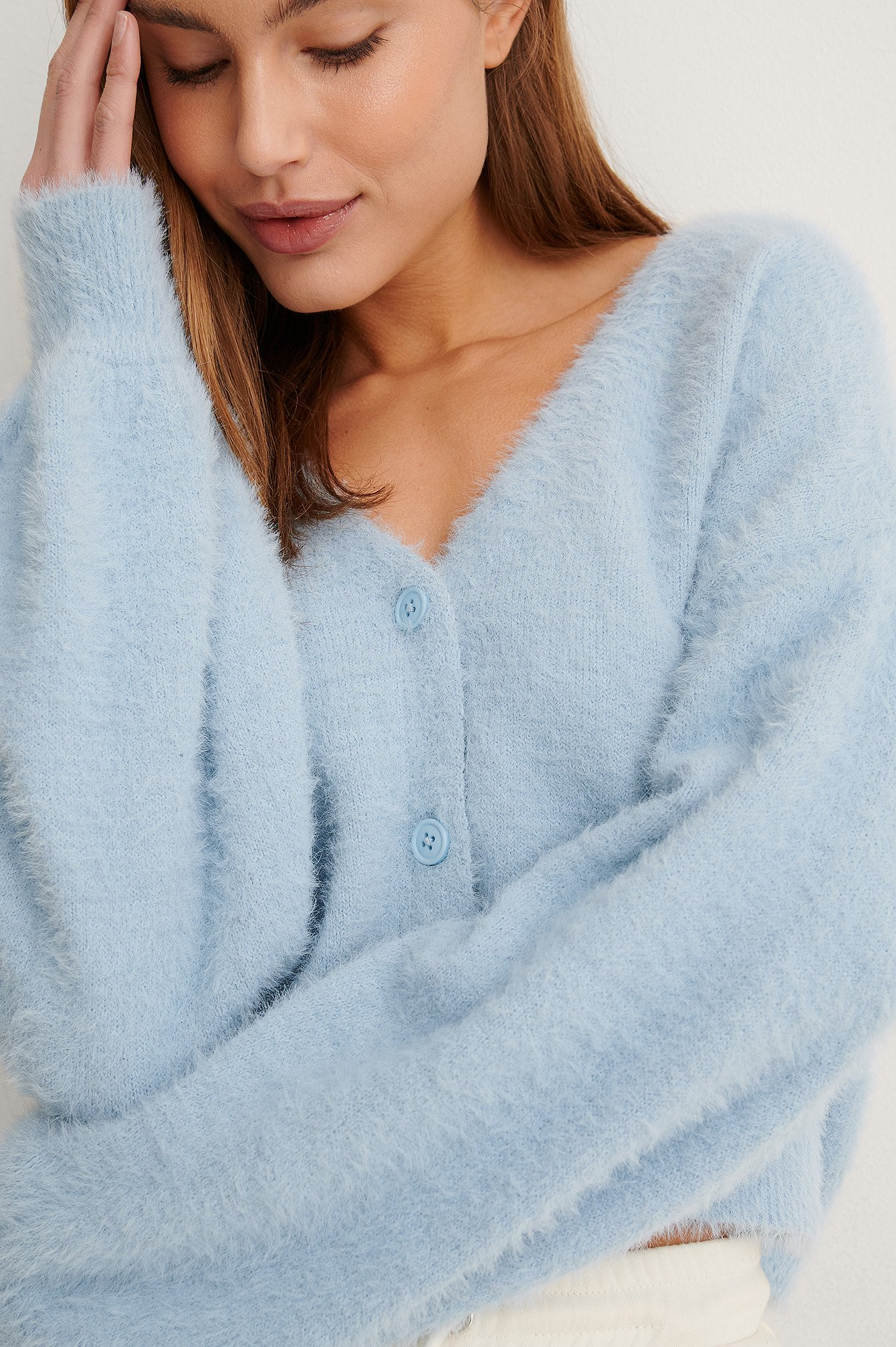 Light Blue Strikket Cardigan
