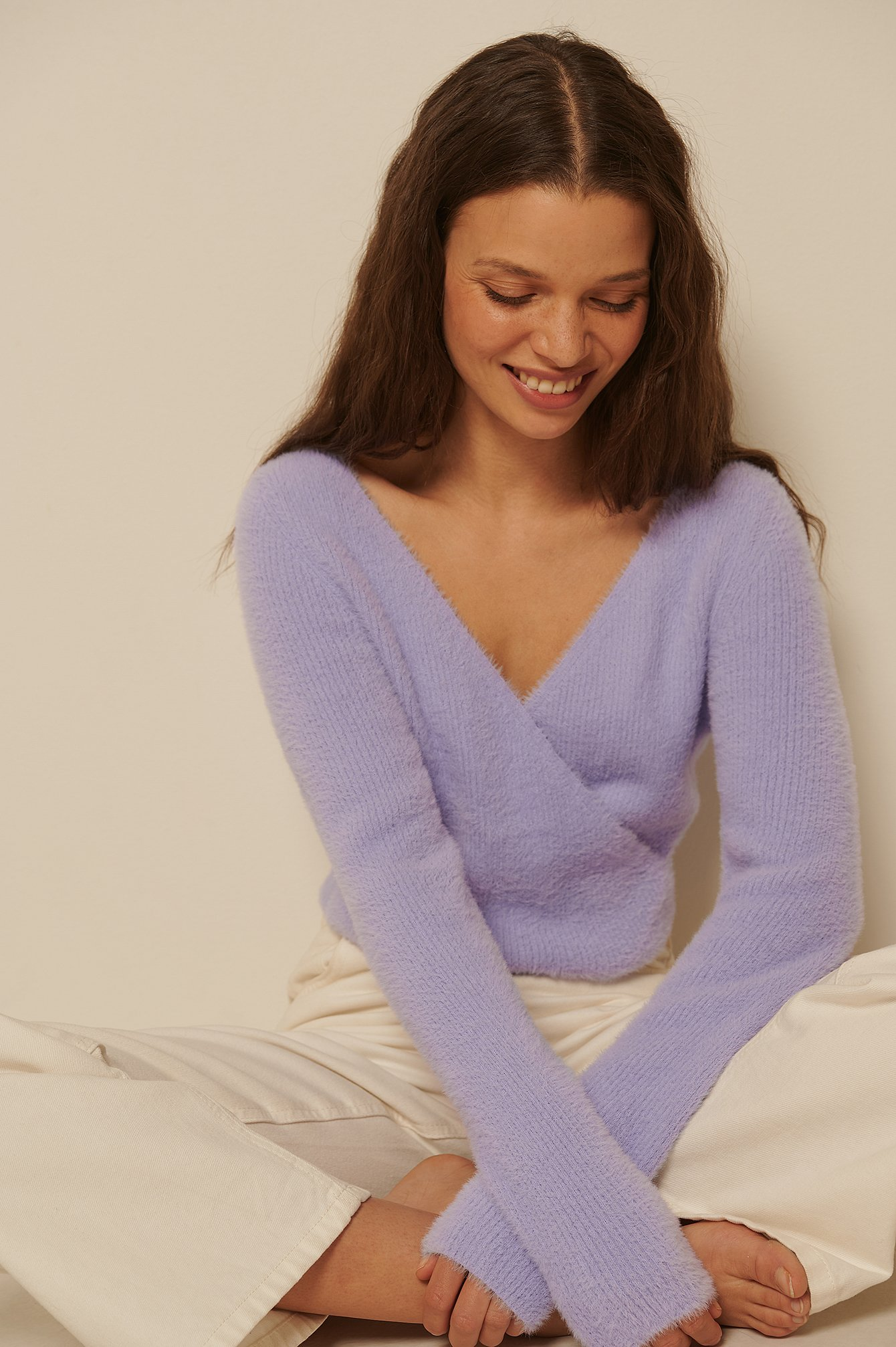 Purple Fluffy V-Neck Sweater