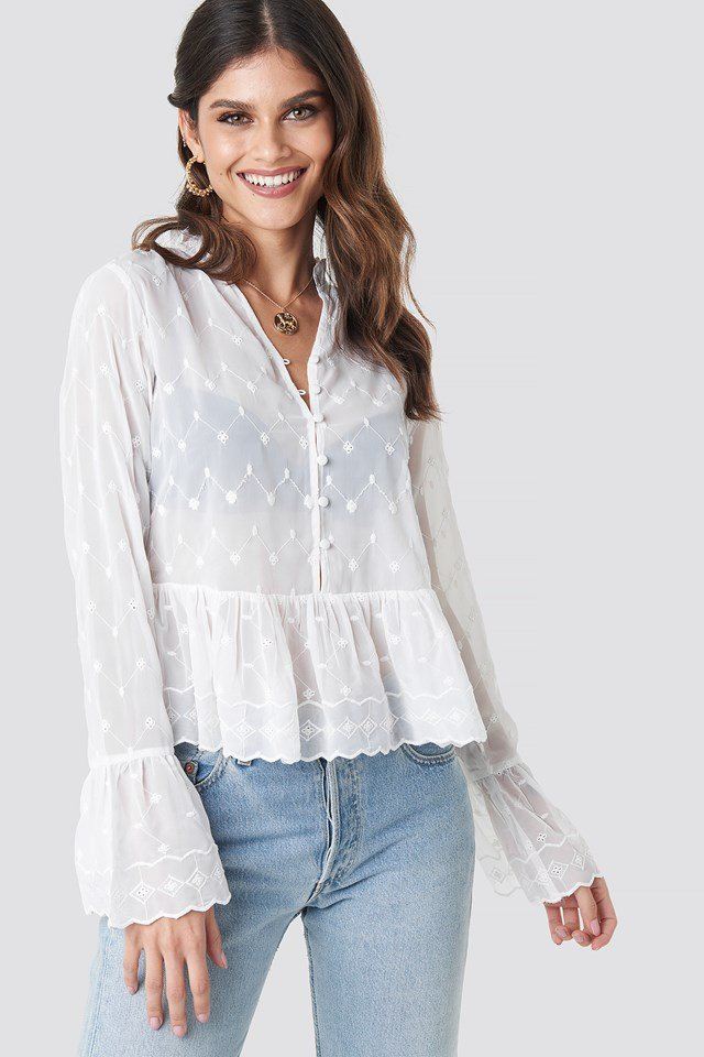 Flute Sleeve Frill Detail Top White