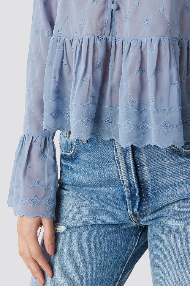 Flute Sleeve Frill Detail Top Blue Stone