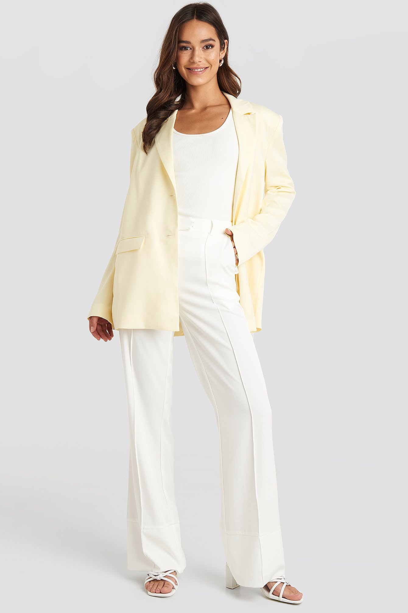 na-kd trend -  Fold Up Flared Pants - White