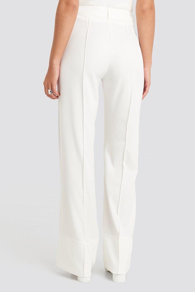 Fold Up Flared Pants White