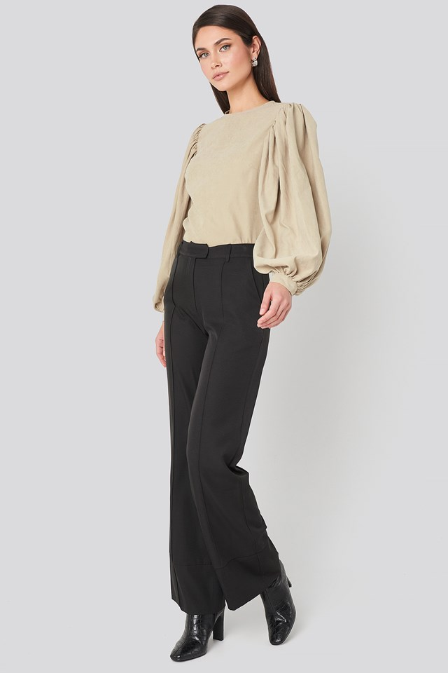 Fold Up Flared Pants Black