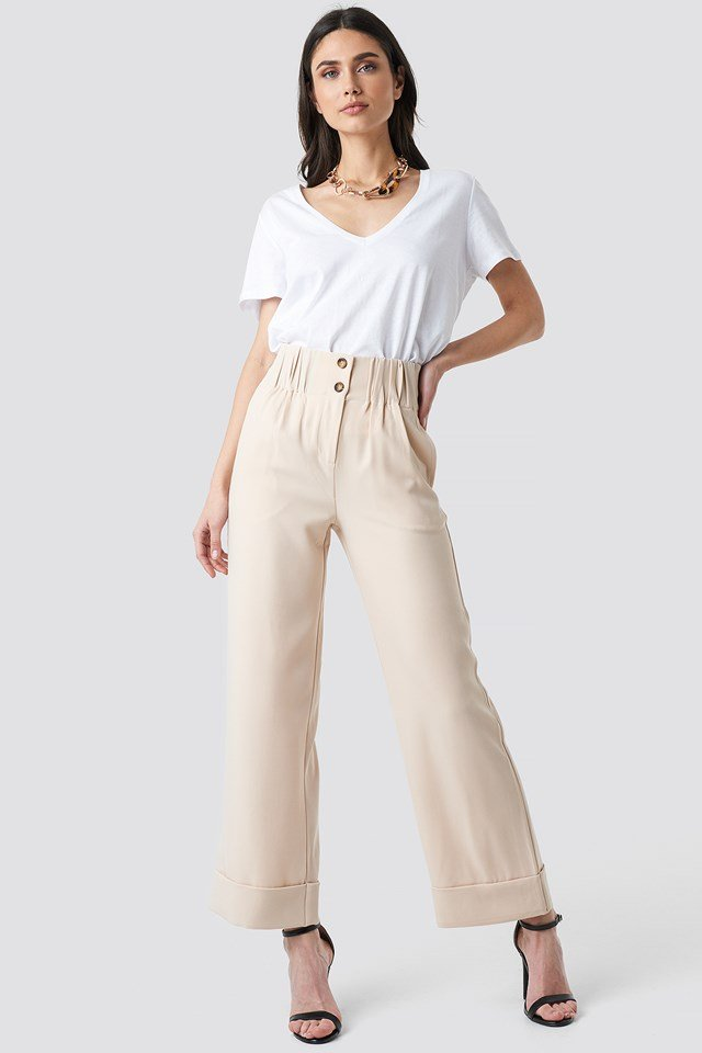 Fold Up Shirred Detail Pants Sand
