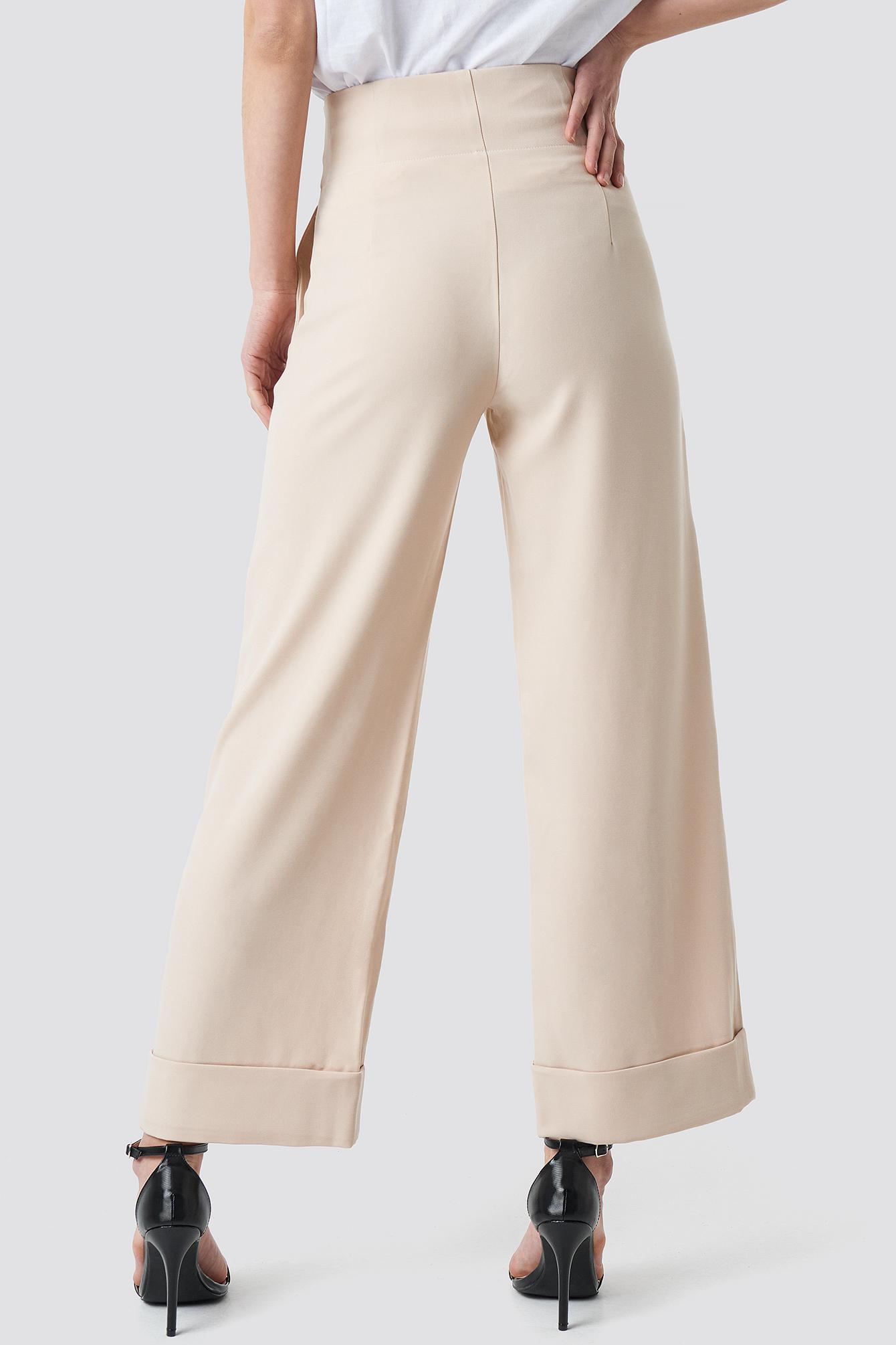 Fold Up Shirred Detail Pants NA-KD.COM