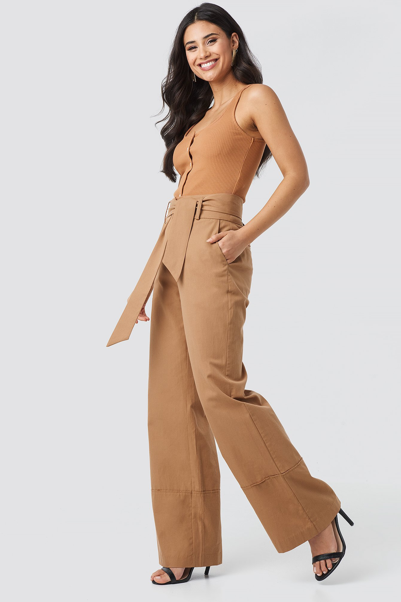 na-kd trend -  Fold Up Wide Leg Pants - Beige