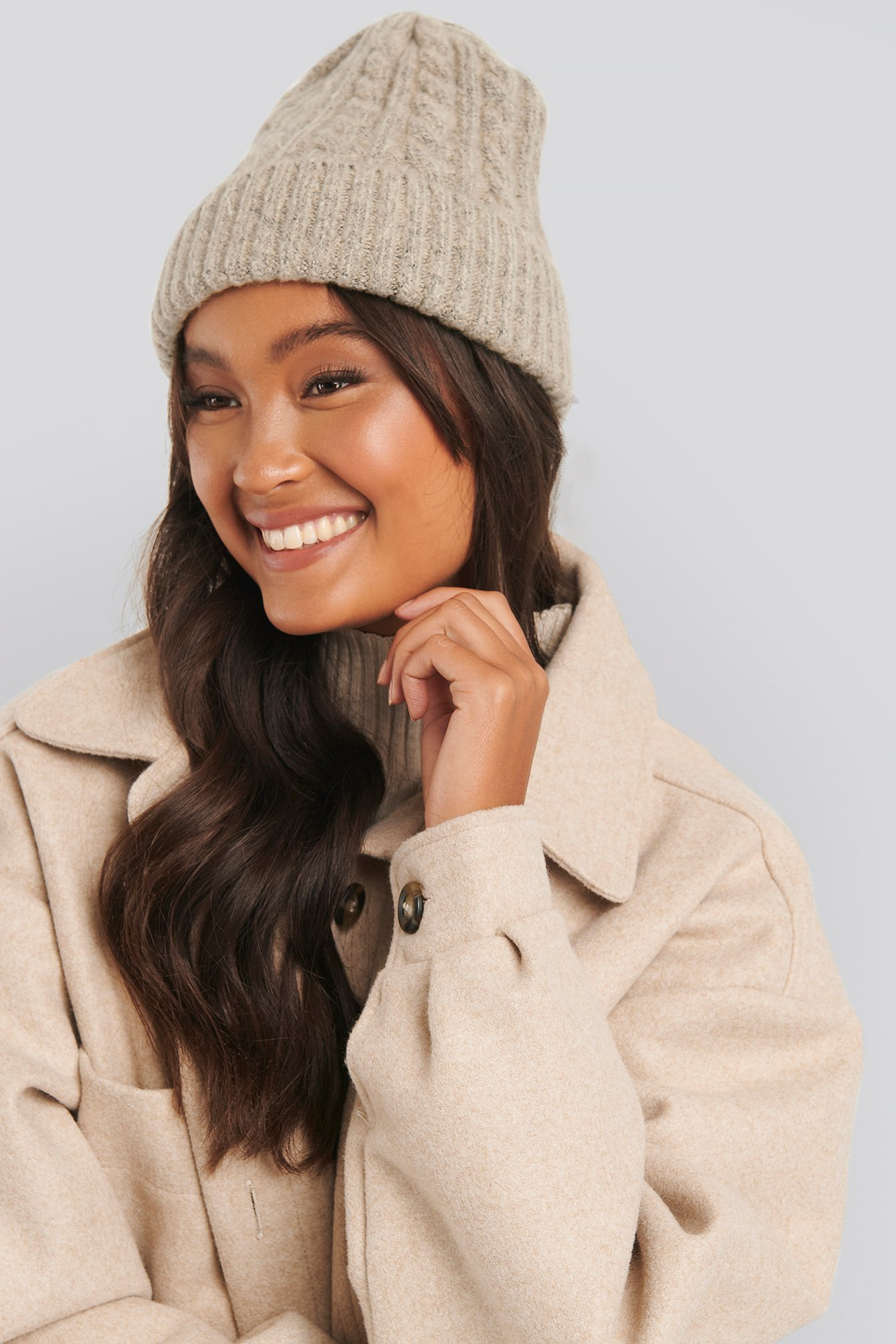 NA-KD Accessories Folded Cableknit Beanie - Beige | Accessoires > Mützen > Beanies | NA-KD Accessories
