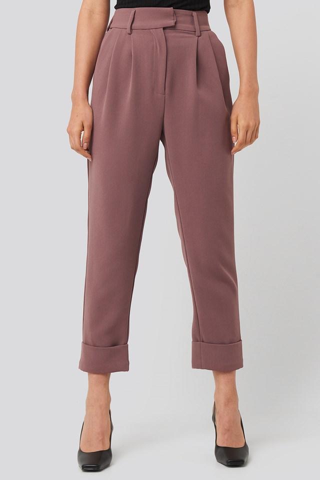 Folded Cigarette Suit Pants Dusty Dark Plum
