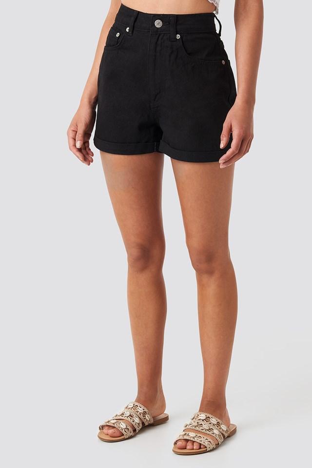 Folded Hem High Waist Denim Shorts Black