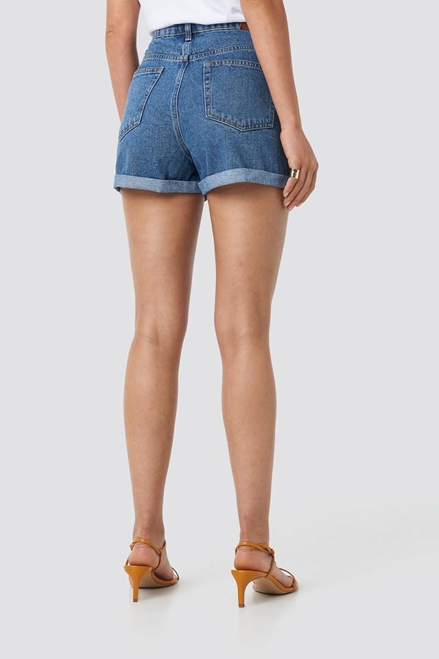 Folded Hem High Waist Denim Shorts Mid Blue