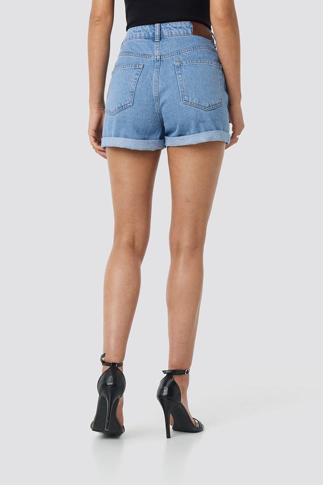 Folded Hem High Waist Denim Shorts NA-KD.COM