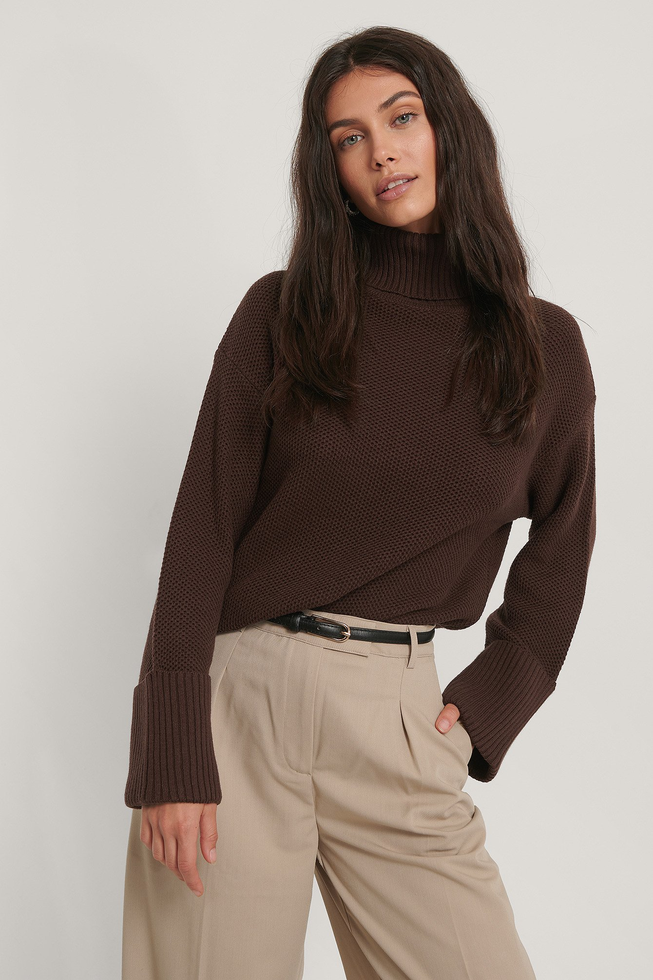 Folded High Neck Knitted Sweater