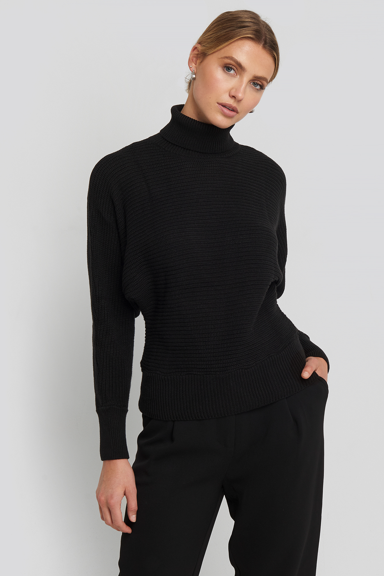 Folded Knitted Sweater Svart by Na Kd