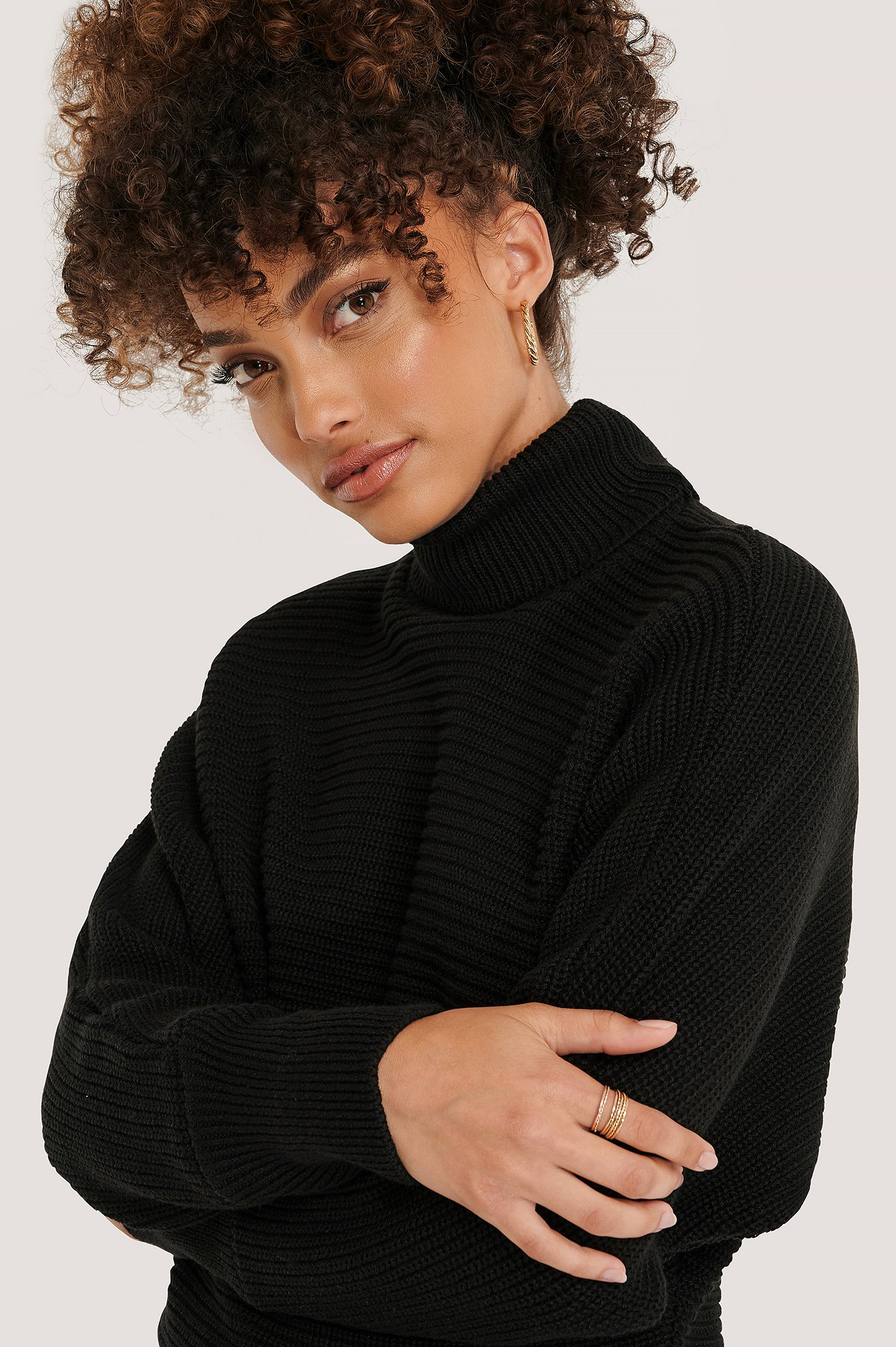 NA-KD Folded Knitted Sweater - Black