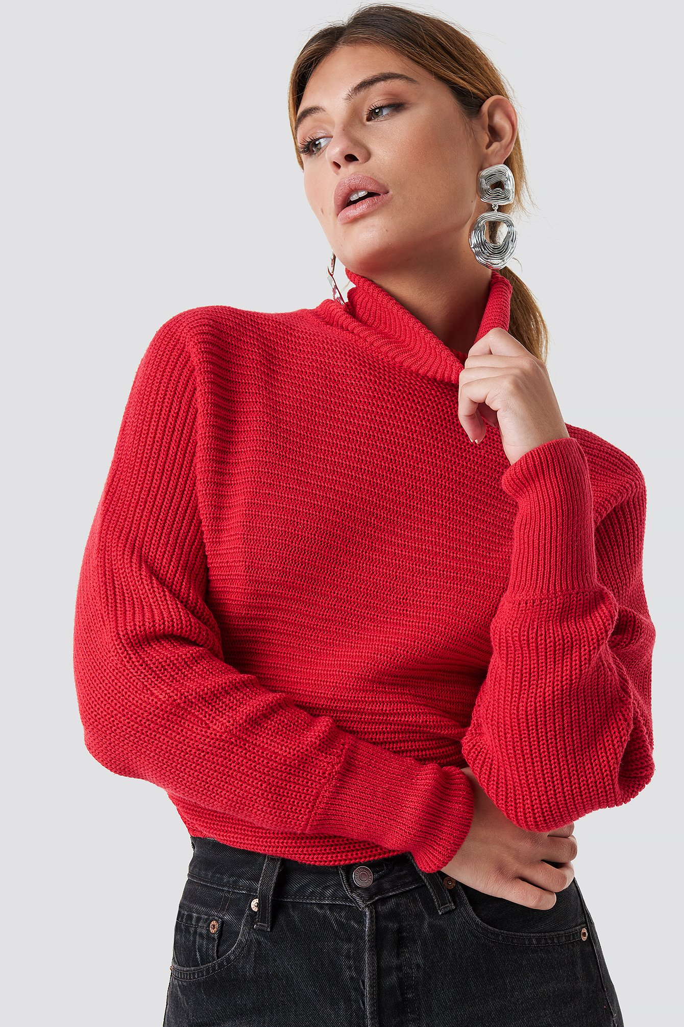 na-kd -  Folded Knitted Sweater - Red
