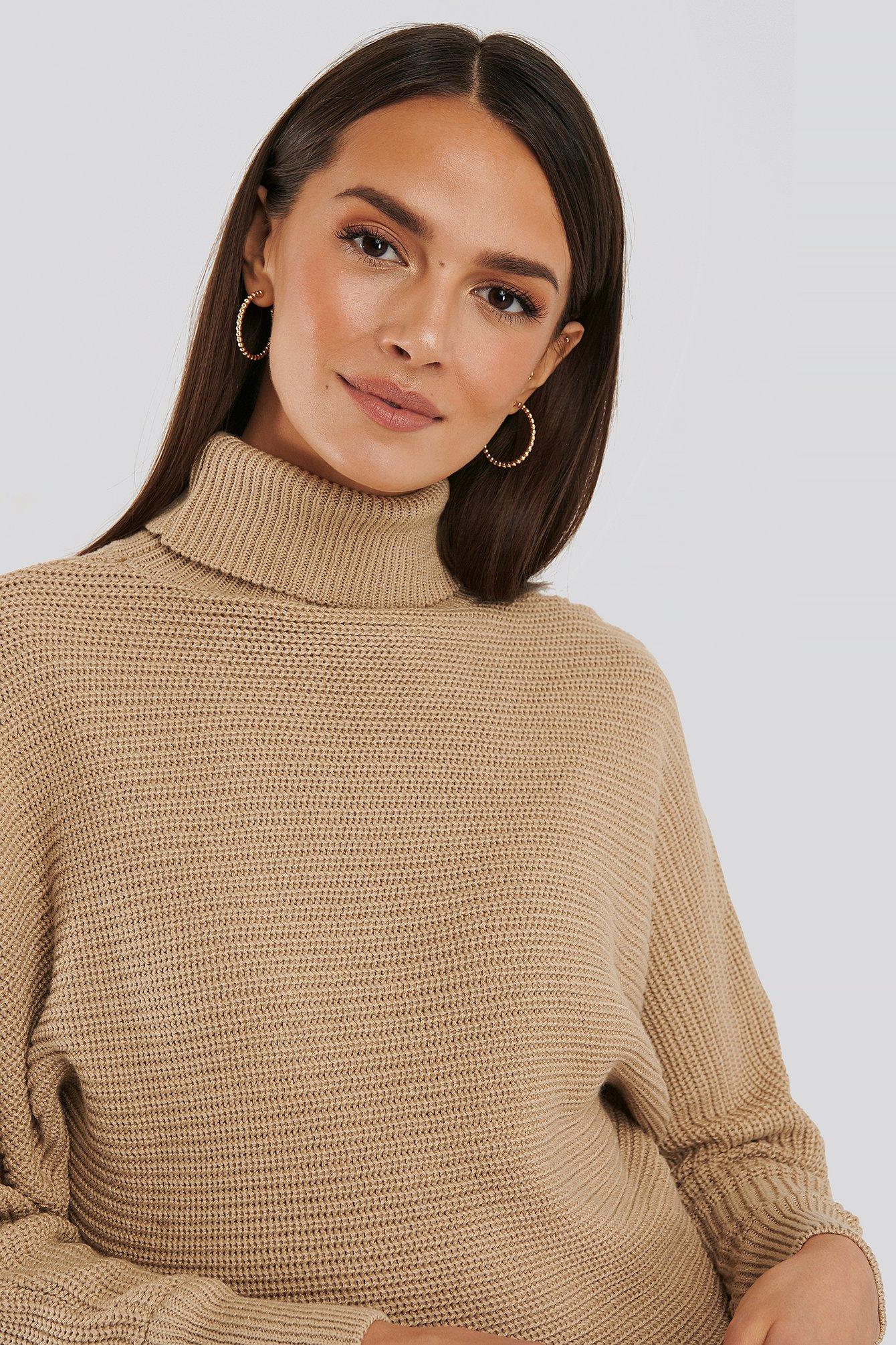 NA-KD Folded Knitted Sweater - Beige