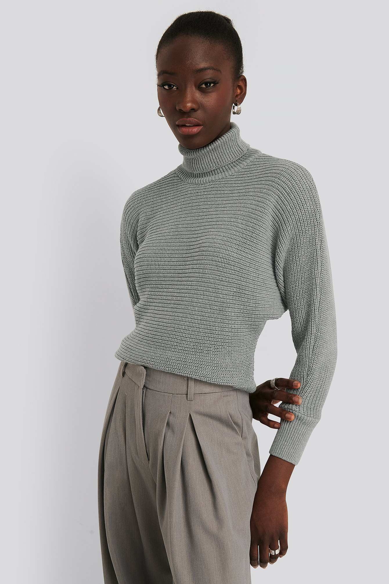 NA-KD Folded Knitted Sweater - Grey