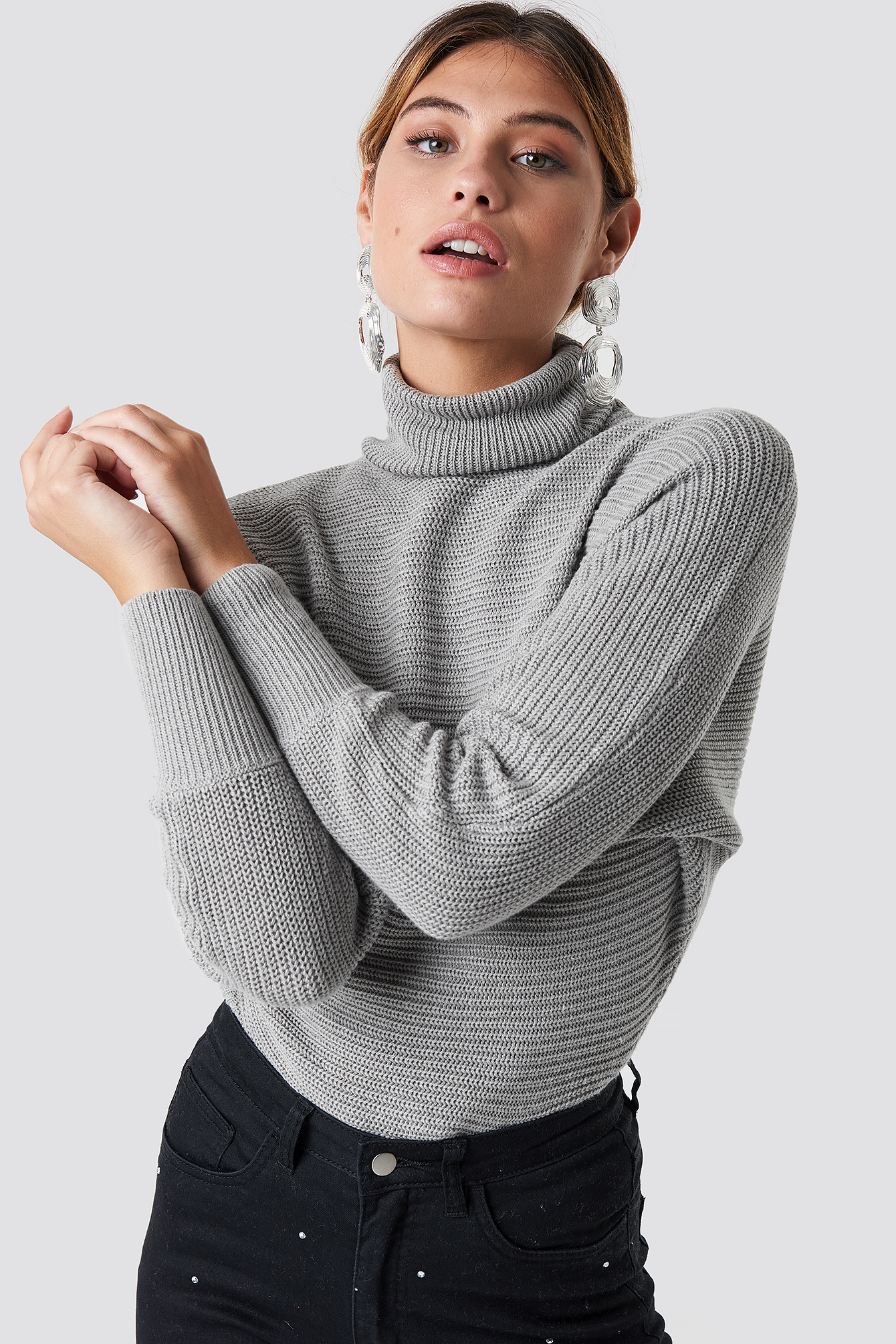 Knitted Wide Sleeve Sweater Red   na-kd.com