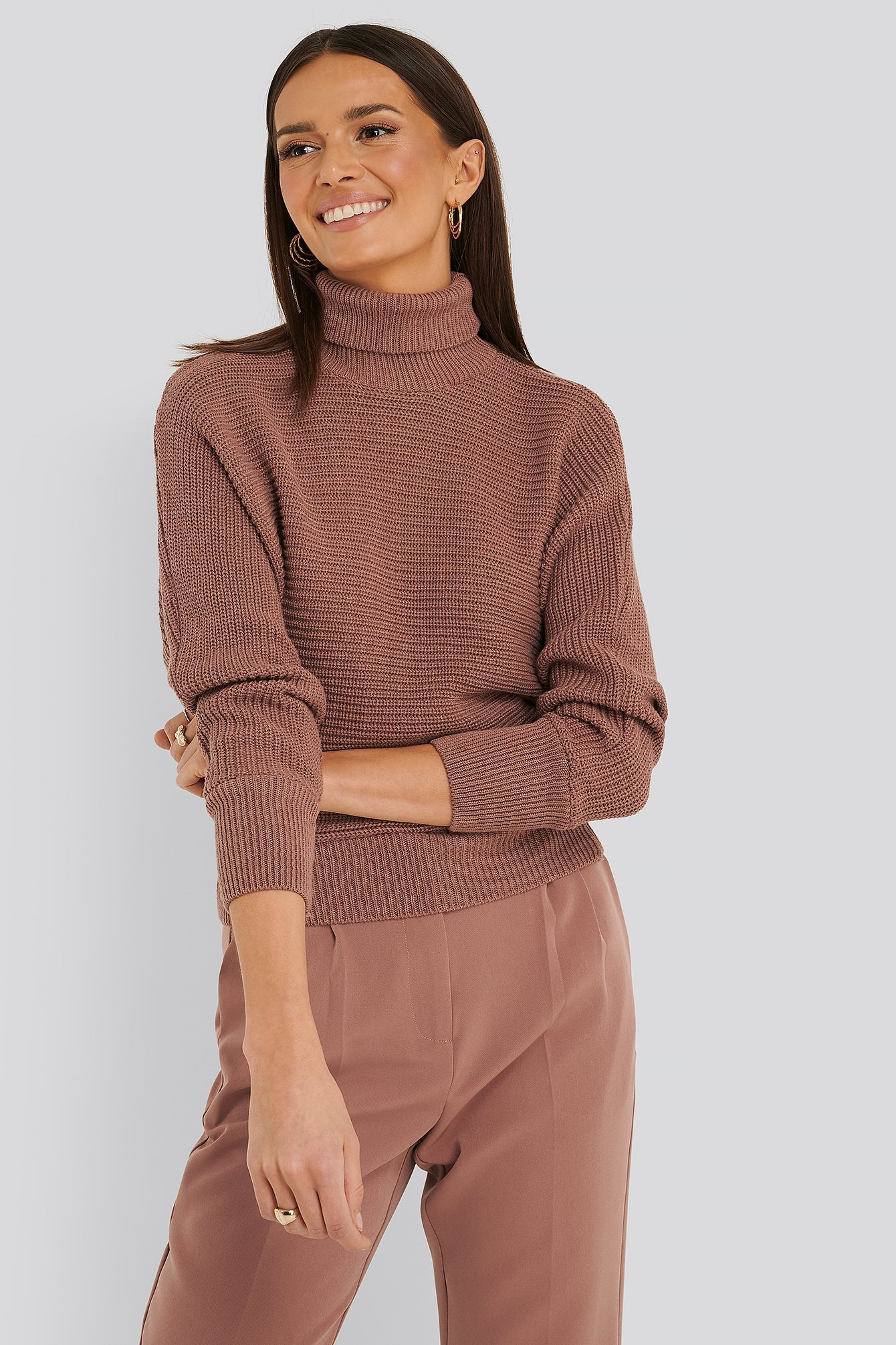 NA-KD Folded Knitted Sweater - Pink