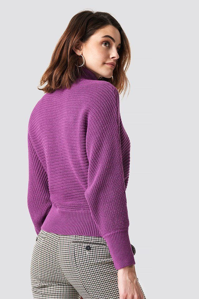Folded Knitted Sweater Purple