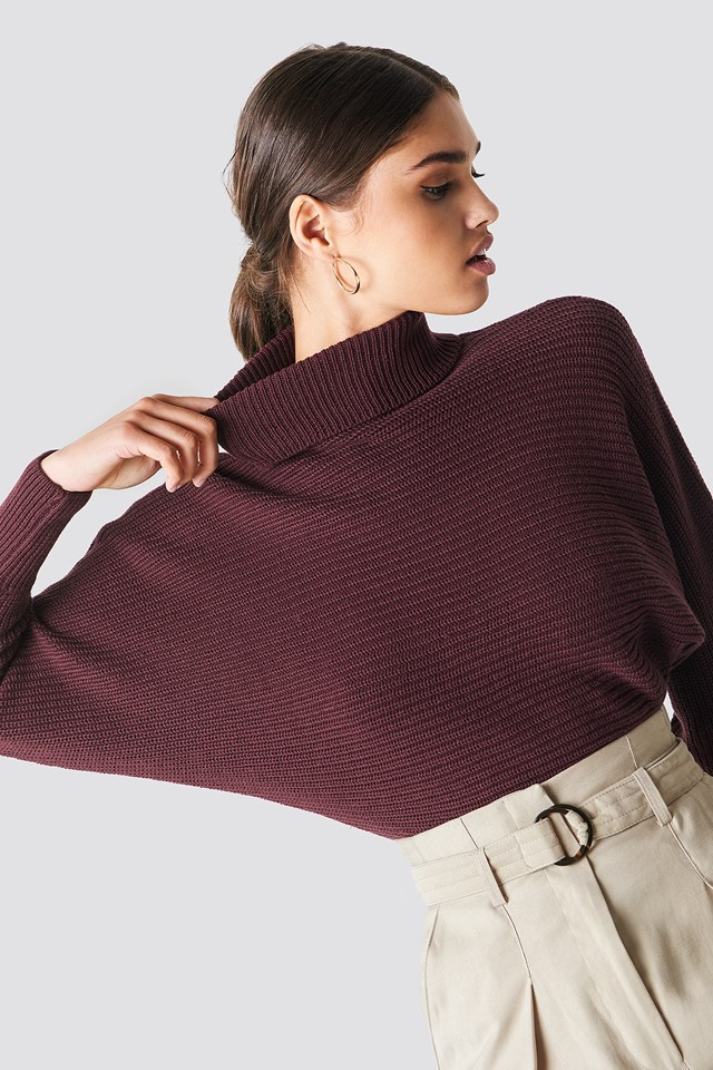 Folded Knitted Sweater Burgundy