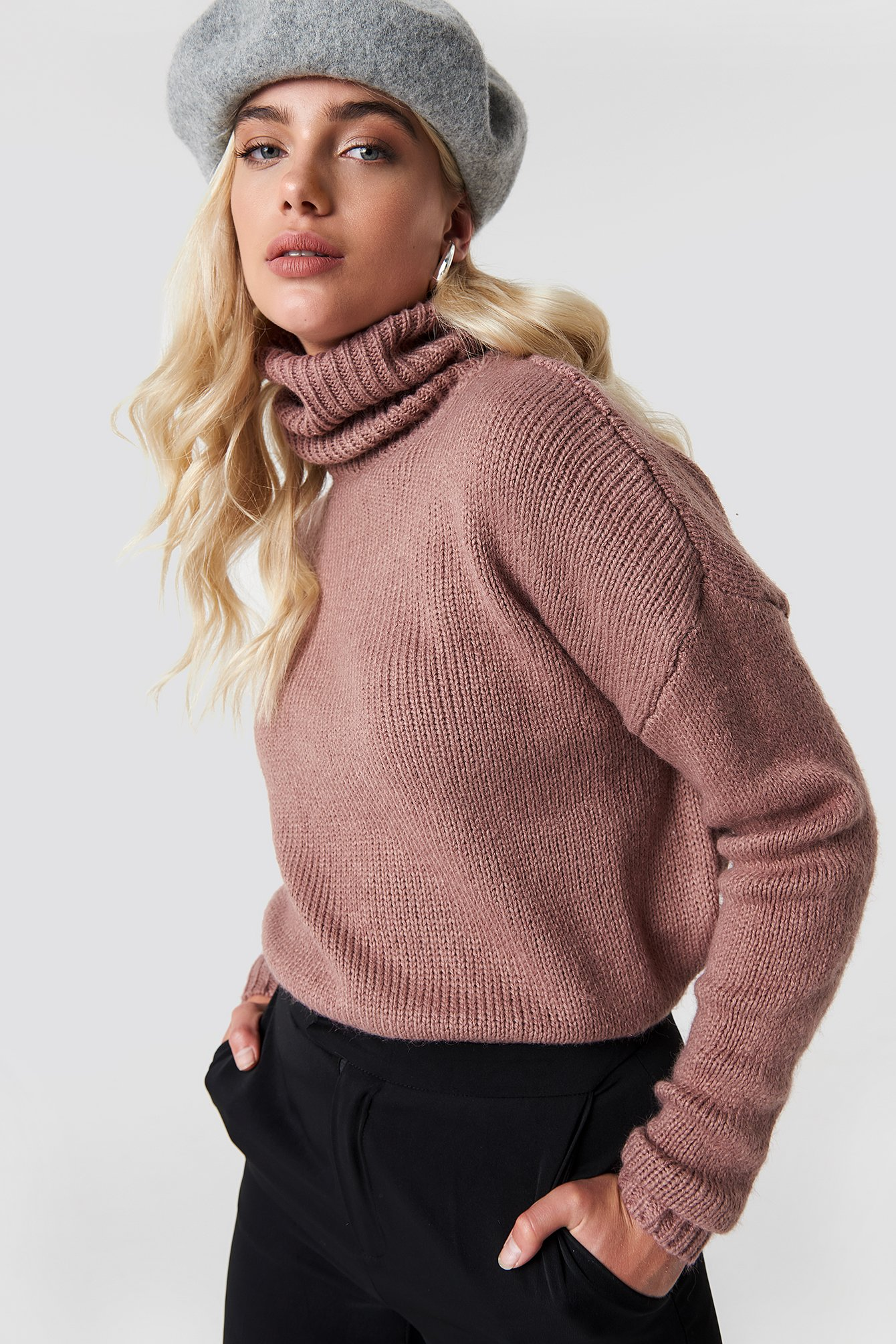 Folded Oversize Short Knitted Sweater NA-KD.COM