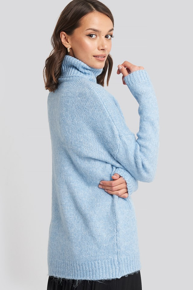 Folded Oversized Knitted Sweater Light Blue