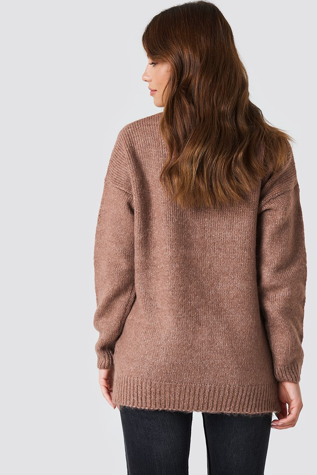 Folded Oversized Knitted Sweater Dusty Dark Pink