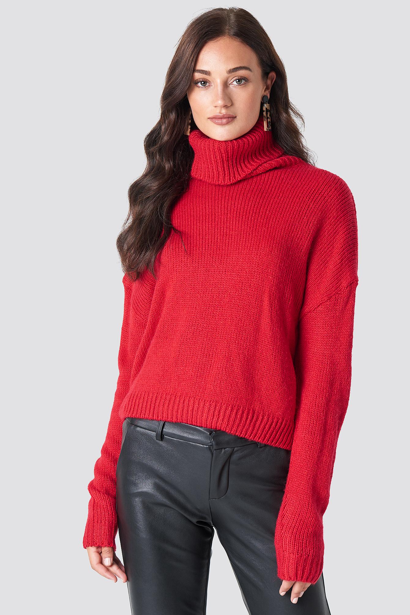 Folded Oversize Short Knitted Sweater NA-KD.COM