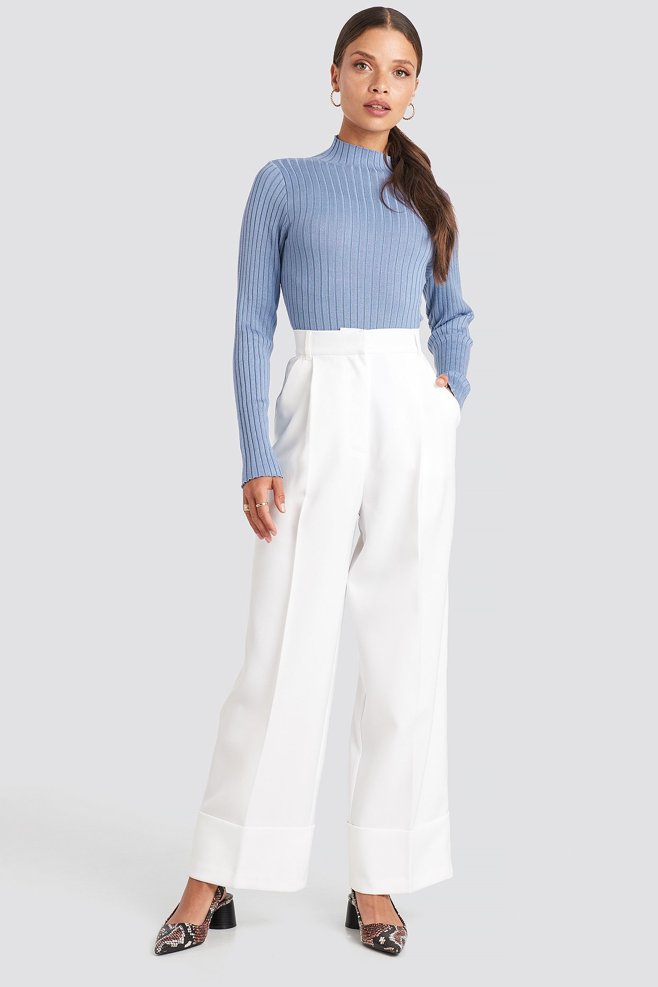 na-kd trend -  Folded Pants - White