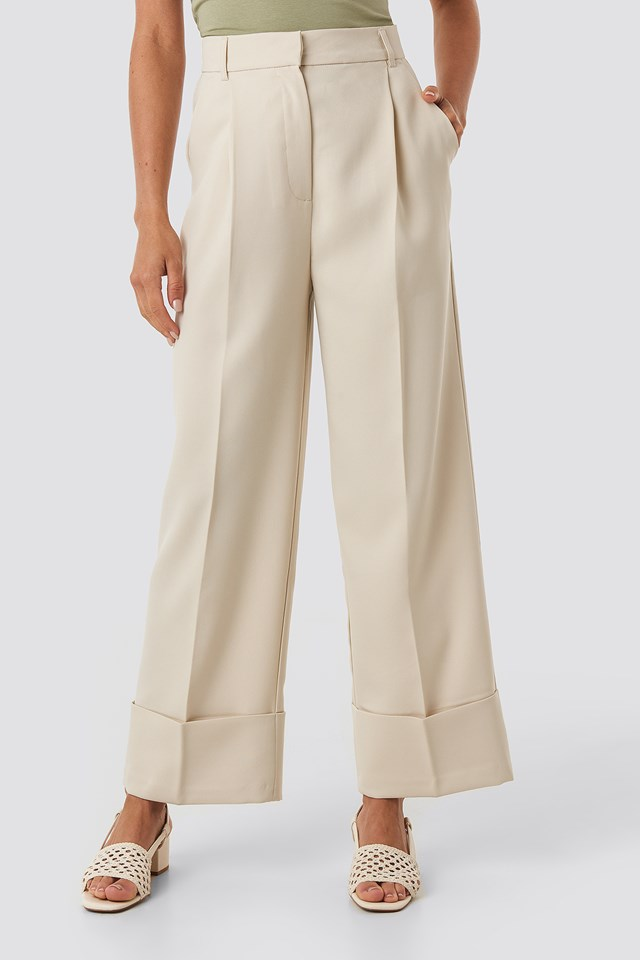 Folded Pants Beige