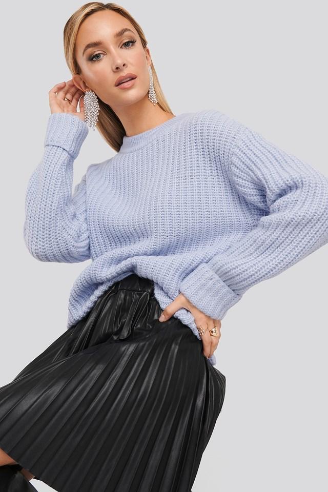 Folded Sleeve Chunky Sweater Dusty Blue