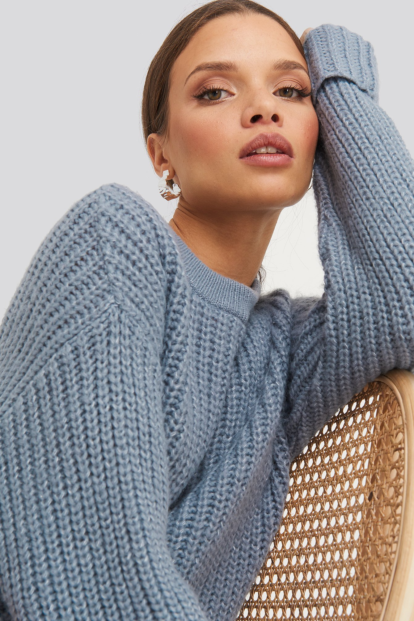 NA-KD Trend Folded Sleeve Chunky Sweater - Grey