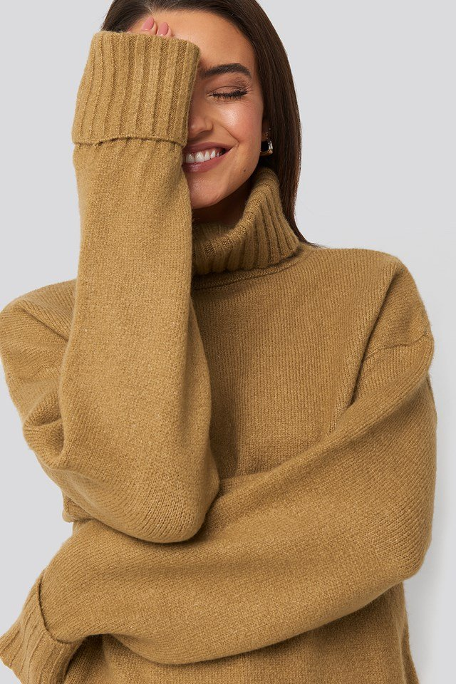 Folded Sleeve Oversize Sweater Light Beige